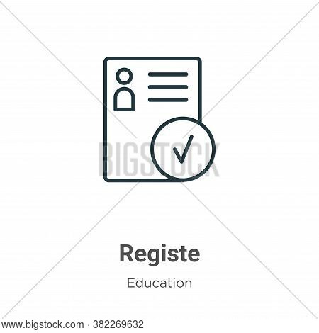 Registered icon isolated on white background from education collection. Registered icon trendy and m