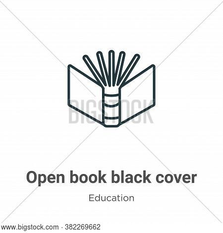 Open book black cover icon isolated on white background from education collection. Open book black c