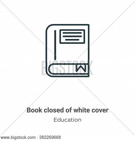 Book closed of white cover icon isolated on white background from education collection. Book closed