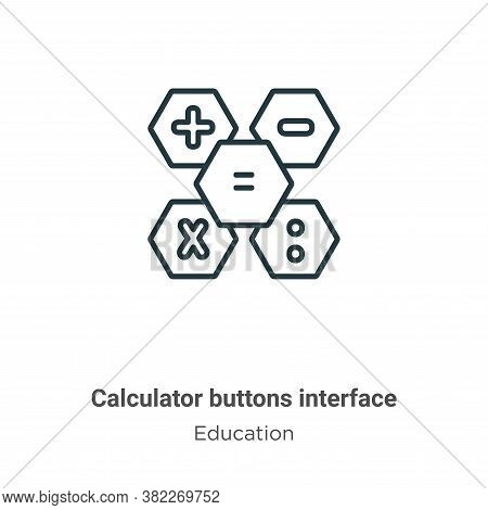 Calculator buttons interface symbol icon isolated on white background from education collection. Cal