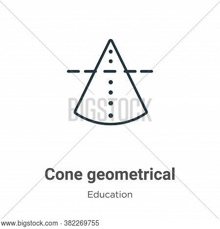 Cone geometrical icon isolated on white background from education collection. Cone geometrical icon