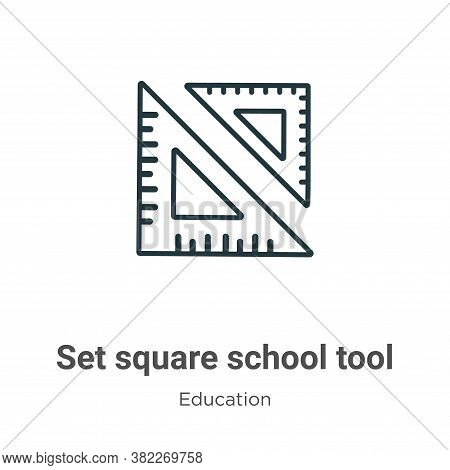 Set square school tool icon isolated on white background from education collection. Set square schoo