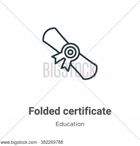 Folded certificate icon isolated on white background from education collection. Folded certificate i