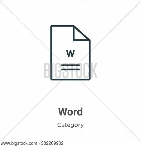 Word icon isolated on white background from category collection. Word icon trendy and modern Word sy