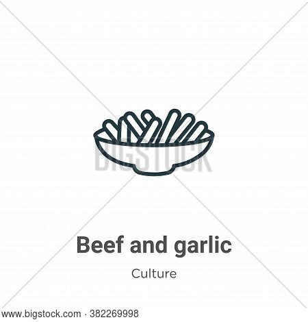 Beef and garlic icon isolated on white background from culture collection. Beef and garlic icon tren