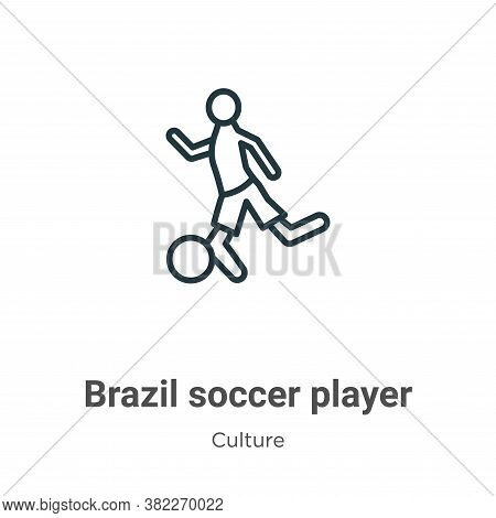 Brazil soccer player icon isolated on white background from culture collection. Brazil soccer player