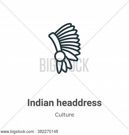 Indian headdress icon isolated on white background from culture collection. Indian headdress icon tr