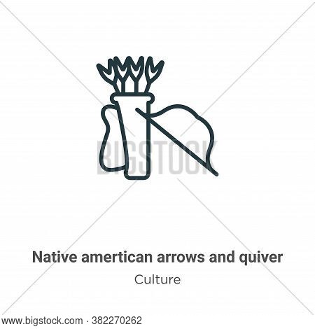Native amertican arrows and quiver icon isolated on white background from culture collection. Native