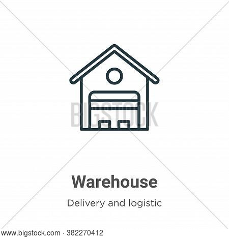Warehouse icon isolated on white background from delivery and logistic collection. Warehouse icon tr