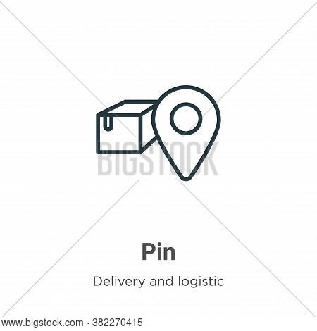 Pin icon isolated on white background from delivery and logistic collection. Pin icon trendy and mod
