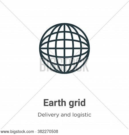 Earth grid icon isolated on white background from delivery and logistic collection. Earth grid icon