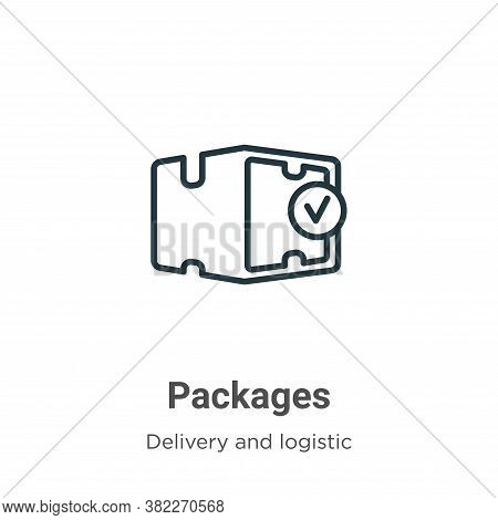 Packages icon isolated on white background from delivery and logistics collection. Packages icon tre