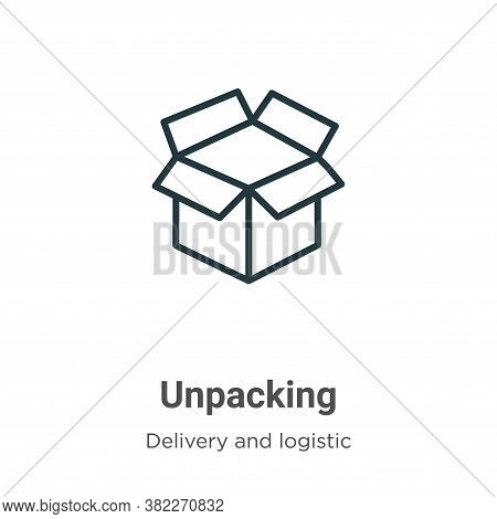 Unpacking icon isolated on white background from delivery and logistics collection. Unpacking icon t