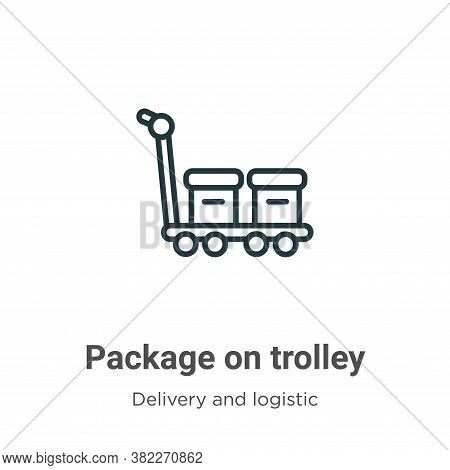Package on trolley icon isolated on white background from delivery and logistics collection. Package