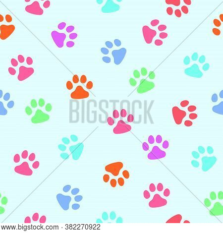 Vector, Seamless Pattern. Abstraction, Multi-colored Traces Of Paws Of A Cat, A Dog On A Light Blue