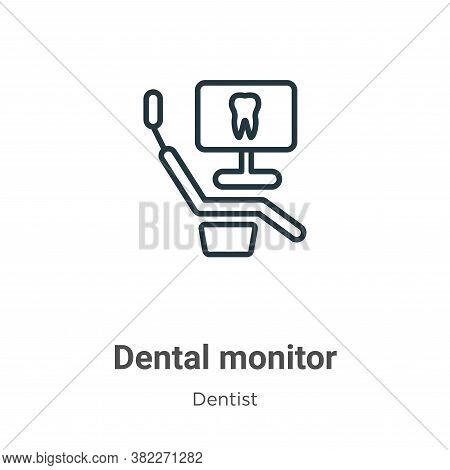 Dental monitor icon isolated on white background from dentist collection. Dental monitor icon trendy