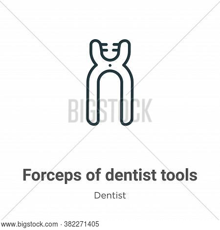 Forceps of dentist tools icon isolated on white background from dentist collection. Forceps of denti