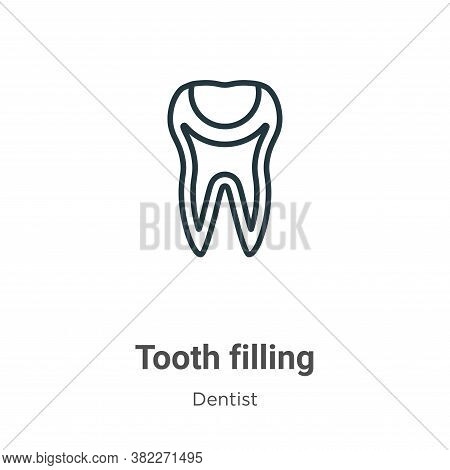 Tooth filling icon isolated on white background from dentist collection. Tooth filling icon trendy a