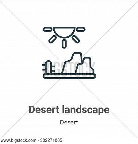 Desert landscape icon isolated on white background from desert collection. Desert landscape icon tre