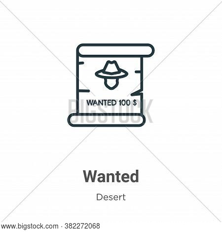 Wanted icon isolated on white background from wild west collection. Wanted icon trendy and modern Wa