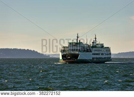 State Ferry Puget Sound Washington State. A Washington State Ferry On Puget Sound. Washington State.