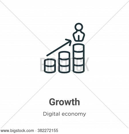 Growth icon isolated on white background from digital economy collection. Growth icon trendy and mod