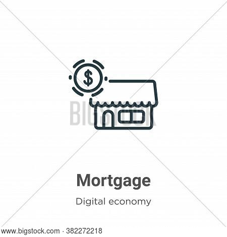 Mortgage icon isolated on white background from digital economy collection. Mortgage icon trendy and