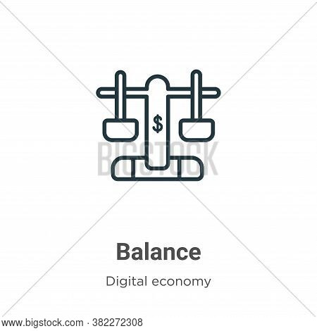 Balance icon isolated on white background from digital economy collection. Balance icon trendy and m