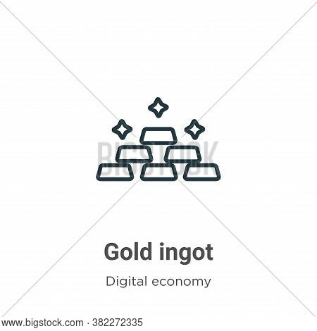Gold ingot icon isolated on white background from digital economy collection. Gold ingot icon trendy