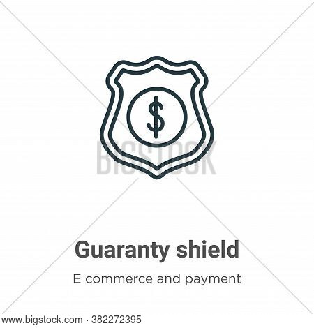 Guaranty shield icon isolated on white background from e commerce and payment collection. Guaranty s