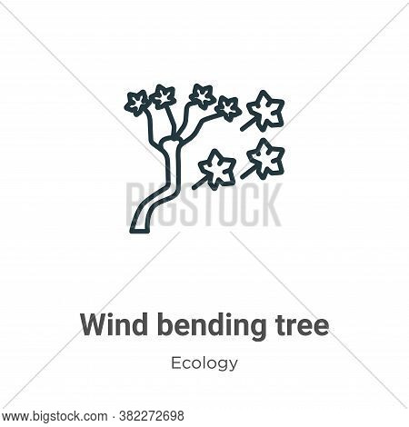 Wind bending tree icon isolated on white background from ecology collection. Wind bending tree icon