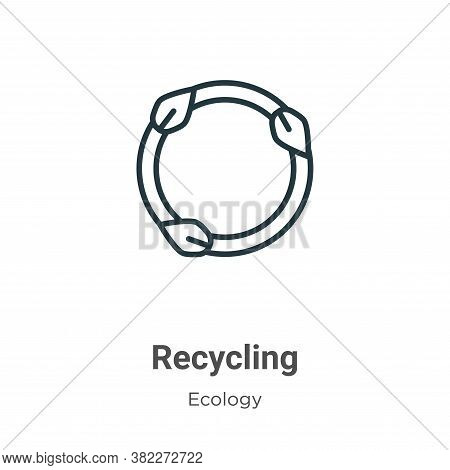Recycling symbol icon isolated on white background from ecology collection. Recycling symbol icon tr