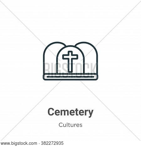 Cemetery icon isolated on white background from cultures collection. Cemetery icon trendy and modern