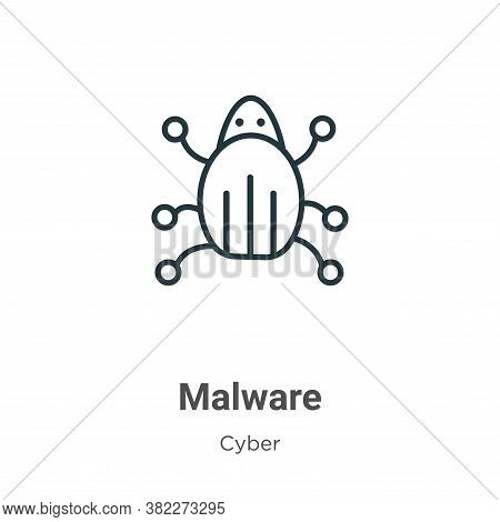 Malware icon isolated on white background from cyber collection. Malware icon trendy and modern Malw
