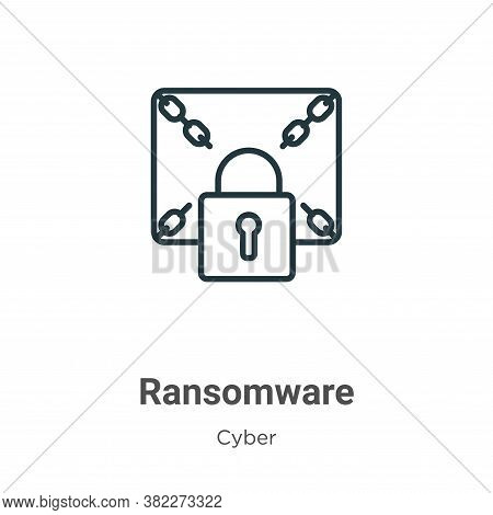 Ransomware icon isolated on white background from cyber collection. Ransomware icon trendy and moder