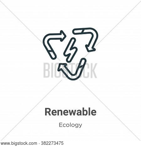 Renewable icon isolated on white background from ecology collection. Renewable icon trendy and moder