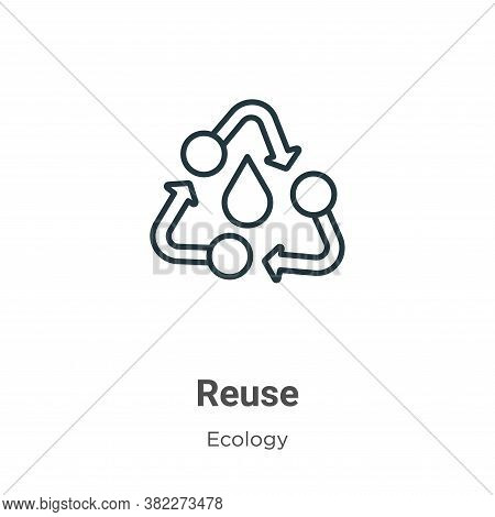 Reuse icon isolated on white background from ecology collection. Reuse icon trendy and modern Reuse
