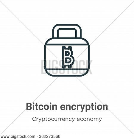 Bitcoin encryption icon isolated on white background from cryptocurrency economy and finance collect