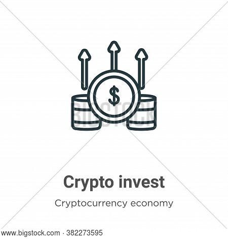 Crypto invest icon isolated on white background from cryptocurrency economy and finance collection.