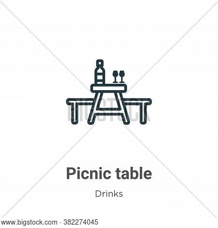 Picnic table icon isolated on white background from drinks collection. Picnic table icon trendy and
