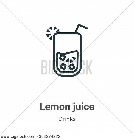 Lemon juice icon isolated on white background from drinks collection. Lemon juice icon trendy and mo