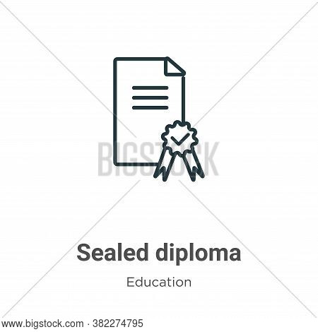 Sealed diploma icon isolated on white background from education collection. Sealed diploma icon tren