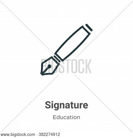 Signature icon isolated on white background from education collection. Signature icon trendy and mod