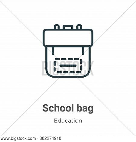 School bag icon isolated on white background from education collection. School bag icon trendy and m