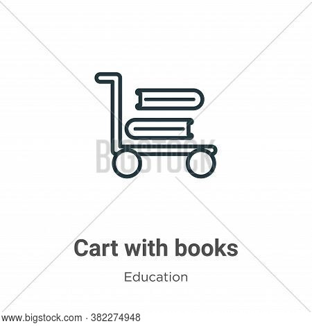 Cart with books icon isolated on white background from education collection. Cart with books icon tr