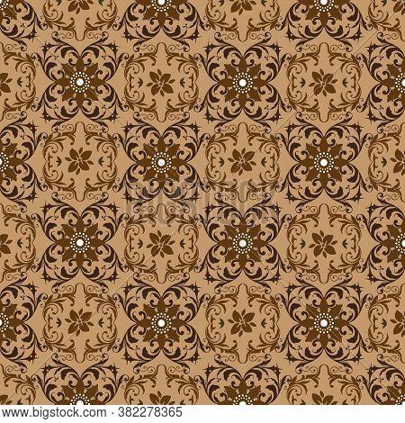 Beautiful Flower Motifs On Traditional Bantul Batik With Soft Mocca Color Designs.