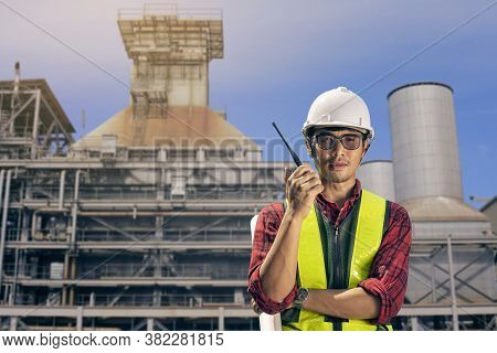 Portrait Engineer Construction Working In Cogeneration Electrical Plant. Asian Man Engineer Contract