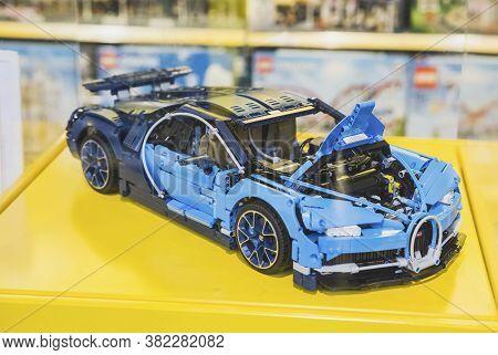 Billund, Denmark, July 2018: Racing Toy Car At The Gift Shop In Legoland