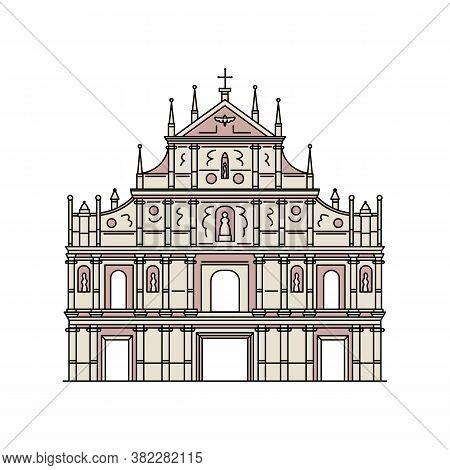 Famous Macau Saint Paul Church Ruins - Flat Isolated Icon