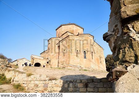 Mtskheta, Georgia - October, 25, 2019: Orthodox Church In Jvari Monastery Located Near Mtskheta, Geo